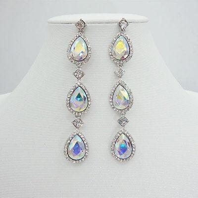 Bride AB Austria Crystal Rhinestone Teardrop Drop Earrings Woman Jewelry
