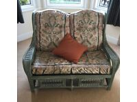 Cane settee and side table