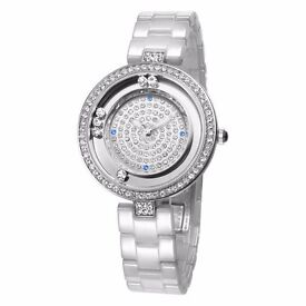 WeiQin 1034 Rolling Diamond Bezel Female Quartz Watch Ceramic Strap