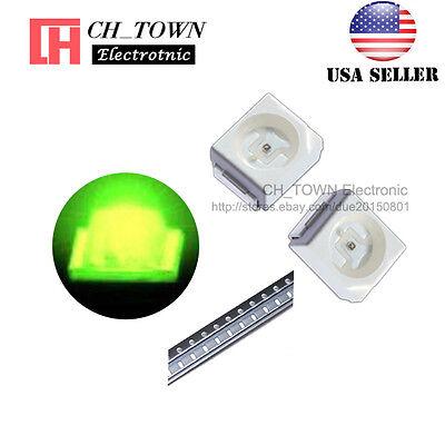 100pcs 1210 3528 Green Light Plcc-2 Smd Smt Led Diodes Ultra Bright Usa