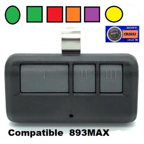 Chamberlain 953EV-P2 / 953ESTD / 893MAX Garage Door Remote Transmitter 3 BUTTON