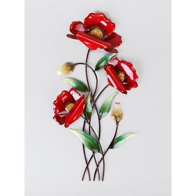 Decoración de Pared, Mural Flor de Amapola Rojo H.46cm 3 Flores Metal...