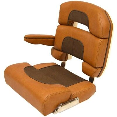 Scout Boat Bolster Captain Seat | Brown Deluxe Helm Chair w/ Armrest