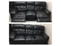 Black leather 3 seater manual recliner sofa good condition