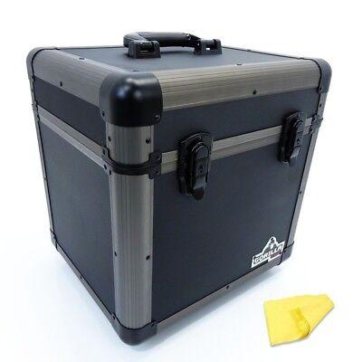 """Gorilla LP80 12"""" LP Vinyl Record Carry Storage Case Box - Titanium - Holds 80"""