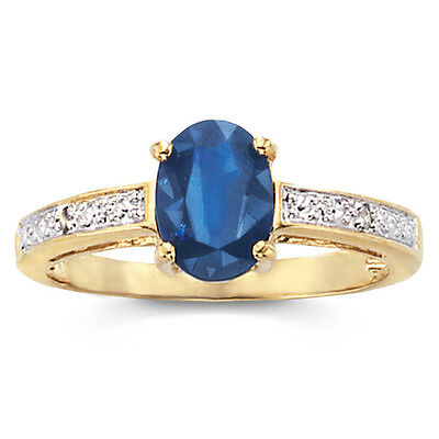 (Genuine Sapphire and Diamond-Accent Ring - Size 8 ~ FAST SHIPPING!)