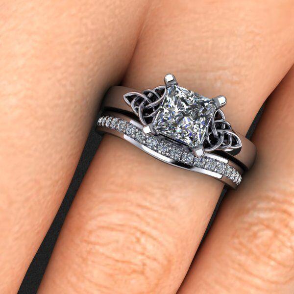 1.11ctw Natural Princess Cut Celtic Knot Design Engagement Bridal Set - GIA