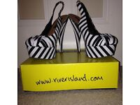 Size 6 black and white stripe high healed shoes river island