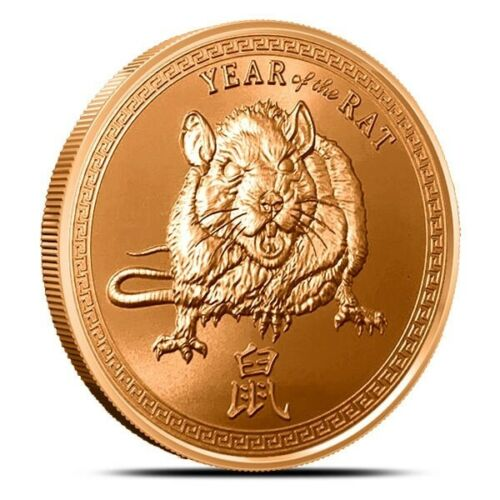 Beautiful 1 oz,  2020 Year Of The Rat   Copper Art Round