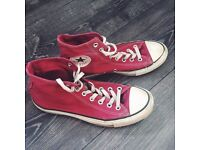 Burgundy High Top Converse With White Laces Size 7