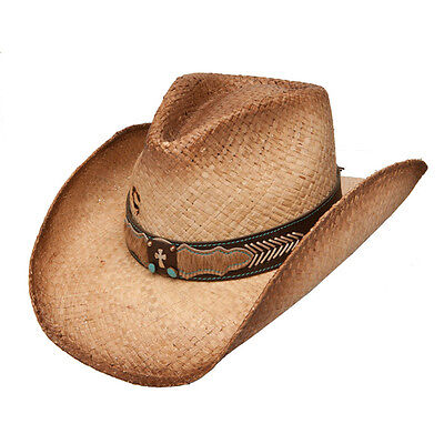 Charlie 1 Horse Mission Straw Cowboy Hat Leather Band w  Cross Turquoise  Stone M aadea62d49c6