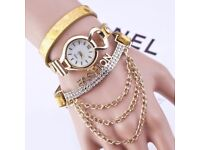 Tassel Chain Rhinestone PU Leather Bracelet Watch