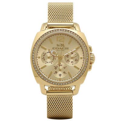 Coach Gold Stainless Mesh Strap Crystal Boyfriend Women's Watch 14502490 $295