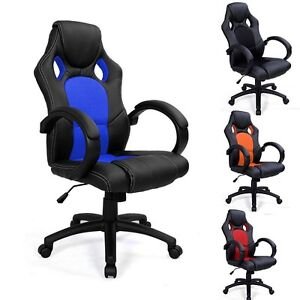 SPORTS RACING GAMING OFFICE COMPUTER PU LEATHER LUXURY CHAIR SWIVEL ADJUSTA