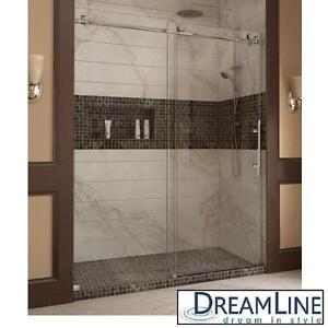 """NEW DREAMLINE SLIDING SHOWER DOORS - 119240188 - ENIGMA-X 56"""" TO 60"""" x 76"""" FRAMELESS SLIDING SHOWER DOOR SYSTEM - BAT..."""