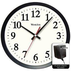 Westclox 32189A Electric Wall Clock Round 14 Easy Read Modern Dial Black/White