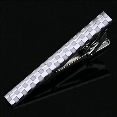 L-110 Stainless Steel Enamel Silver Toned Tie Clasp Clip Bar + Gift Box FREE S&H
