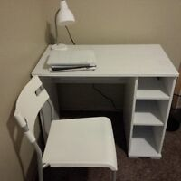 Good condition Ikea desk, chair, and lamp.