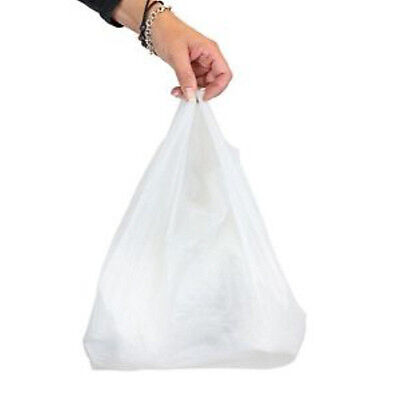 100x Large White Vest Plastic Carrier Bags 17x11x21