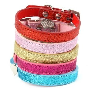 Pet Dog Collars Adjustable Bling Crystal Pendant Puppy Cat Choker Necklaces S71