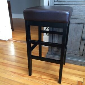Solid Wood, Leather topped pair of Bar stool St. John's Newfoundland image 2
