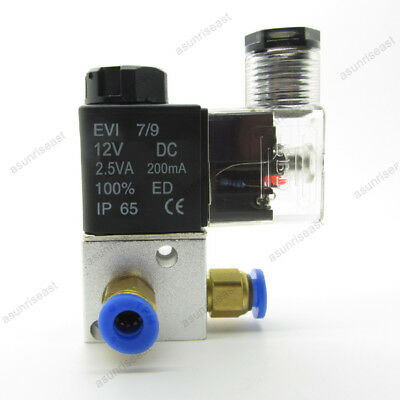 Pneumatic Air Solenoid Valve Dc12v With 6mm Fittings 3 Port 2 Position Nc