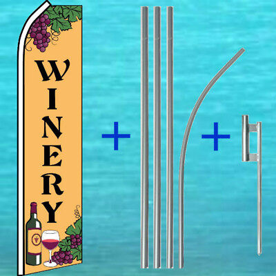 Winery Flutter Flag Pole Mount Kit Tall Curved Advertising Sign Feather Banner