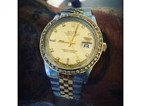Mens, 36mm, 18k gold/steel, diamond face and dial, Rolex datejust
