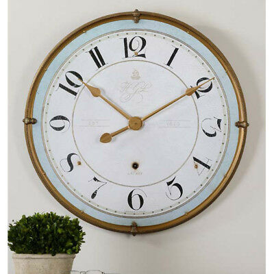 "French Country Blue & Ivory Wall Clock Large 32"" Farmhouse Decor"