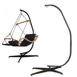NEW SOLID BLACK STEEL C- FRAME HAMMOCK STAND for  AIR PORCH SWING CHAIR PORCH