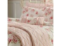 Annabella Pink Duvet Set (floral) with matching curtains & cushion