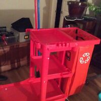 STANDARD JANITOR CART - new , never used (red)