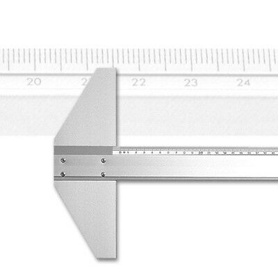 Alu-Zeichenschiene, fester Kopf, 120 cm mit mm-Teilung, aus Aluminium