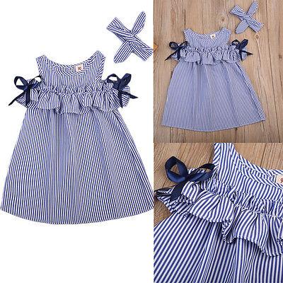 Toddler Baby Kid Girl Off Shoulder Dress Botton Up Striped Cotton Dress+Headband