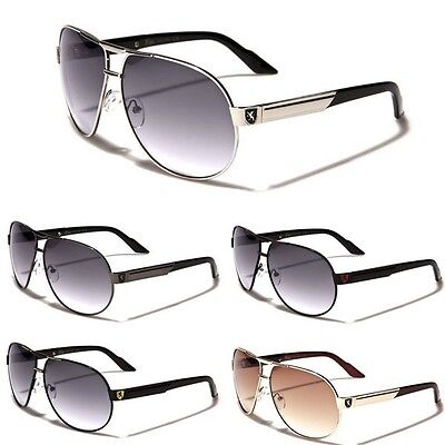 Premium Mens Fashion Aviator Sunglasses Retro Khan Designer Glasses Black Blue