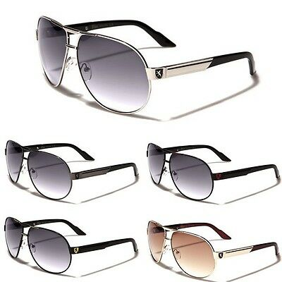 Premium Men's Fashion Aviator Sunglasses Retro Khan Designer Glasses Black (Mens Blue Aviator Sunglasses)