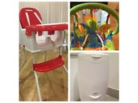 Baby combo( Bouncer, Highchair, nappy bin and microwave sterlizer)