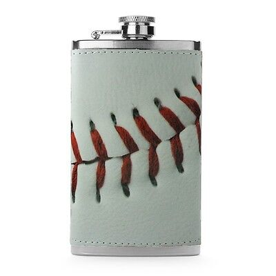 Leather Wrapped 6oz Stainless Steel Hip Flask FSK76 Baseball  Baseball 6 Ounce Flask