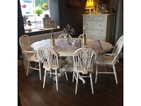 Louis Shabby Chic Dining Table & 6 Chairs