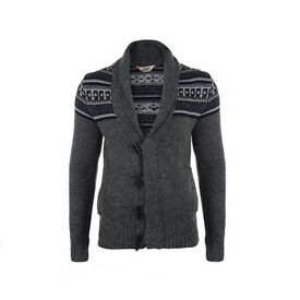 New Mens TOKYO LAUNDRY Fairisle Aztec Shawl Collar Cardigan Toggle Deep V Neck - Medium