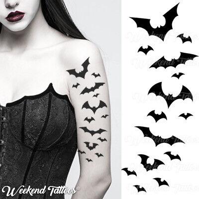 Bat Halloween Temporary Tattoos Black Flying Vampire Bats Women Men Adults - Man Bat Halloween