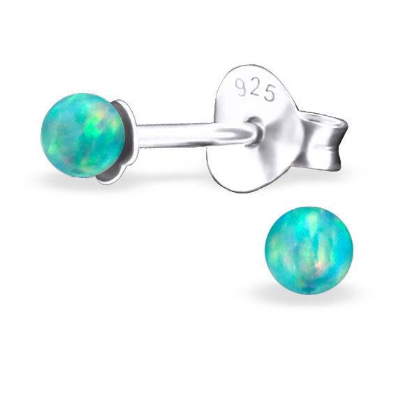 925 Sterling Silver Opal Tiny Ball Stud Earrings Kids Girls Women 7 Colours