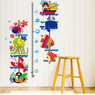 New Sea World Fish Whale Kids Height Measure Wall Stickers Boy Girl Growth (World Growth Chart)