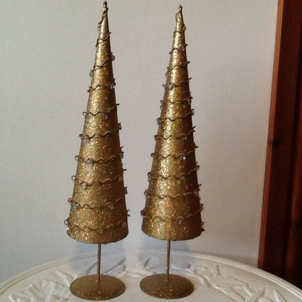 1 pair gold metal Christmas tree ornaments