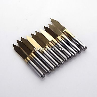 10x Titanium Coated Carbide Pcb Engraving Cnc Bit Router Tool 60 Degree 0.1mm