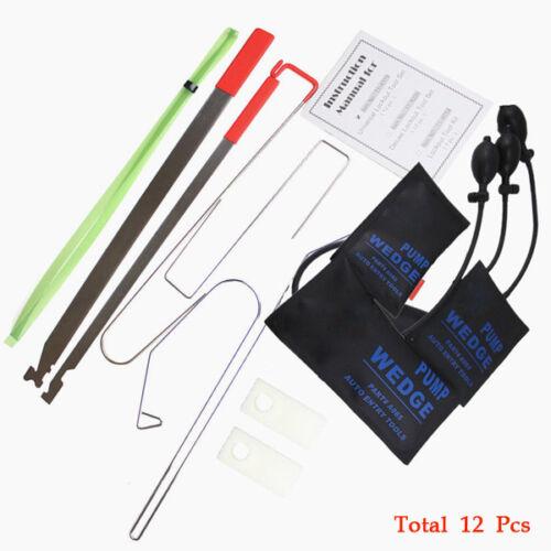 Car 12PCS Door Key Lock Out Emergency Opening Unlock Tool Kit W/Air We
