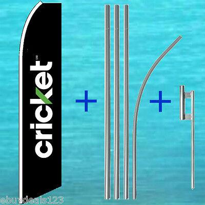 Cricket Black Flutter Flag 15 Tall Pole Mount Kit Feather Swooper Banner