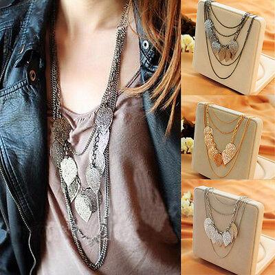 Women Fashion Boho Multilayer Necklace Leaf Pendant Long Sweater Chain Neckalces (Long Necklace Leaf)