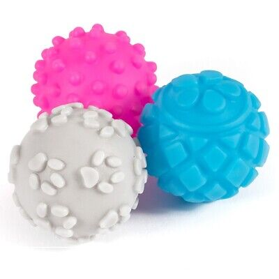 Ancol Squeaky Vinyl Dog Balls 6 Pack Small Bite 6pc Mini Play Ball Puppy Toy Set
