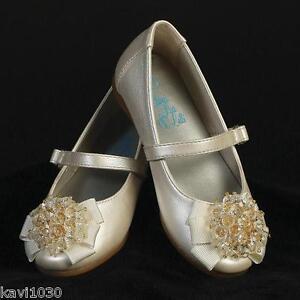 Infant Toddler Girls Ivory Flats Dress Shoes Ribbon Crystal Bow Sz 3 4 5 6 7 8 | EBay